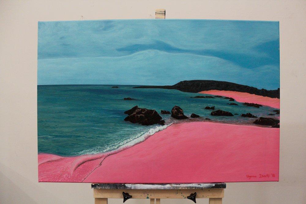 "[ Destination Paradies ]    acrylic on 36"" x 24"" canvas"