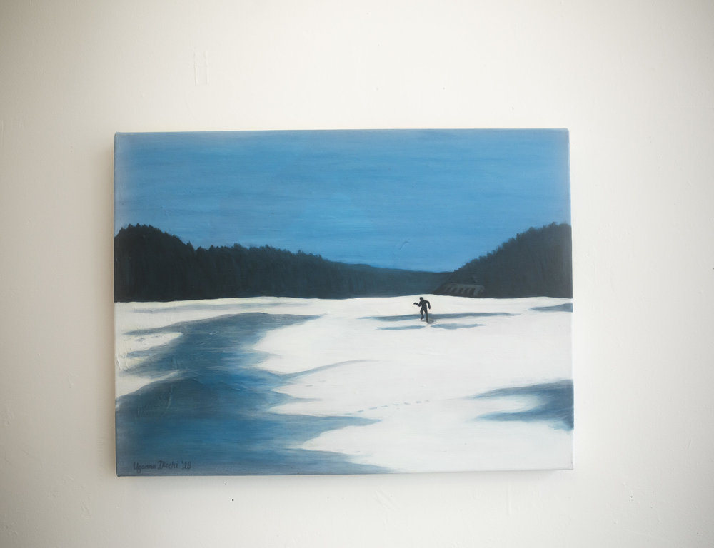 "[ Gray Exile ]    acrylic on 24"" x 18"" canvas"