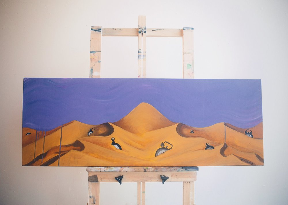 """[ Sands of Time ]    acrylic on 44"""" x 16"""" canvas"""