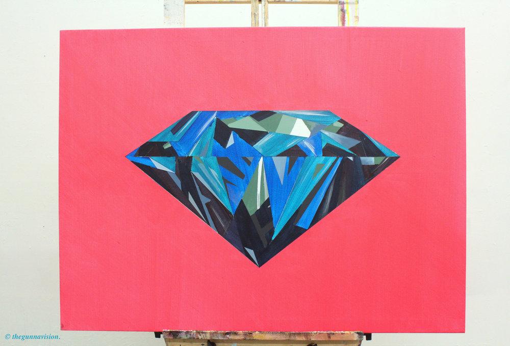 """[ Dyemond ]    acrylic on 40"""" x 36"""" canvas"""