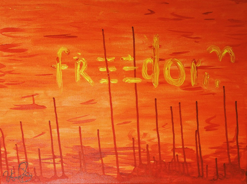 """[ Vrede in Pyn III ]    acrylic on 24"""" x 18"""" canvas"""