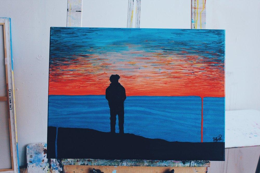 "[ The Lone Stray II ]    acrylic on 24"" x 18"" canvas"