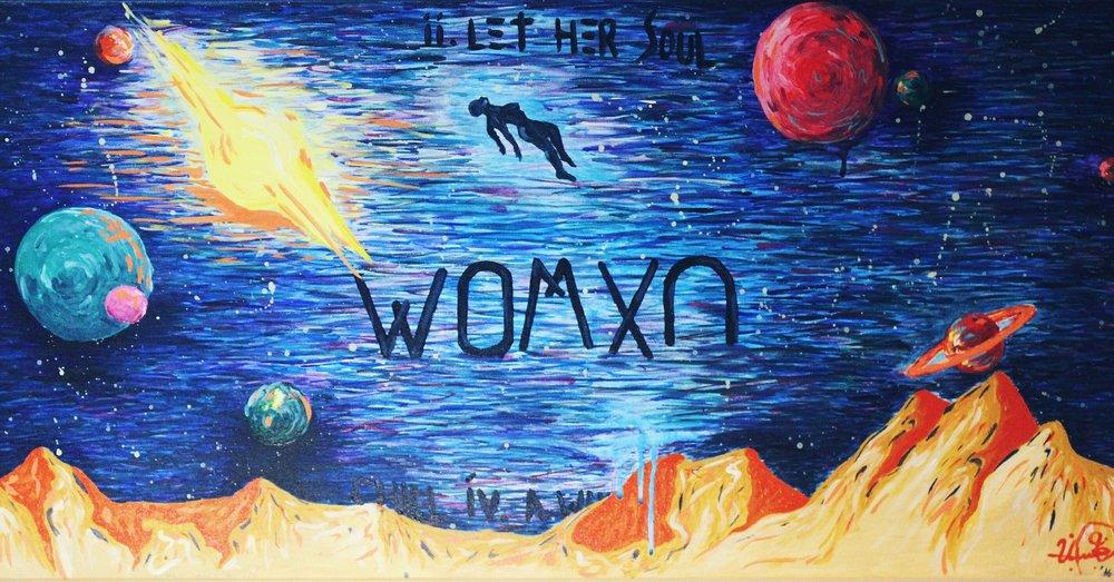 "[ Womxn ]    acrylic on 36"" x 24"" canvas"