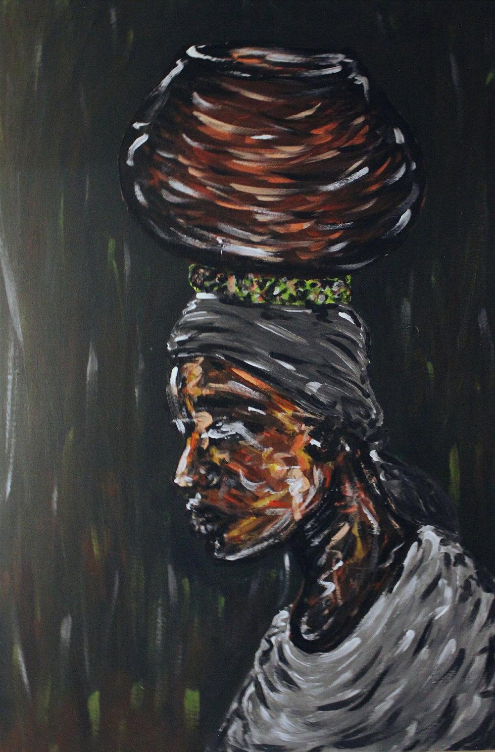 "[ Ukame ]    acrylic on 24"" x 36"" canvas"