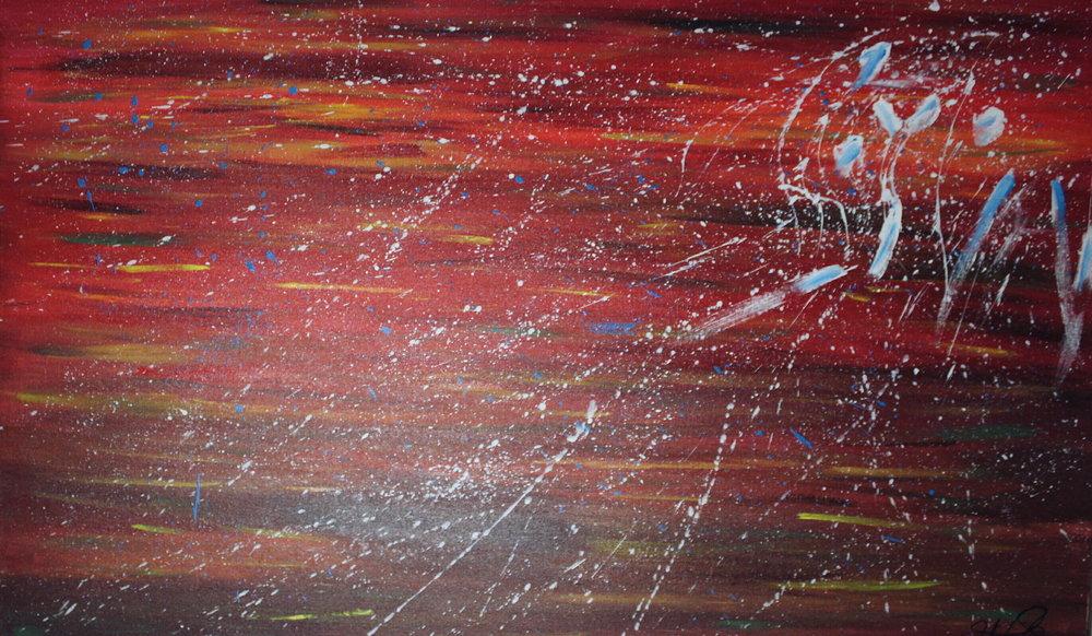 "[ Inferno ]    acrylic on 36"" x 24"" canvas"