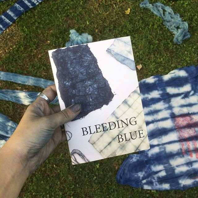 Bleeding Blue - our new book all about #indigo (it's fraught history, it's mysticism, it's use + how to set up a vat) is finally ready / our #sheepandwoolfestival workshop participants are getting a sneak peak this indigo filled weekend / stay tuned to learn how to get your hands on a copy / #bluegold #bluehands #indigochild #naturaldyes #naturallydyed #plantdye #slowfashion #textilelove #naturalindigo #fiberhousecollective #chapbook