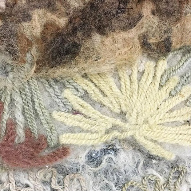 Felt on felt / sharing the process of creating your own textile by painting with wool / a great shot from @caramariepiazza / . . . #textilelove #felt #felted #wool #felting #feltingworkshop #fiberhousecollective #naturaldye #naturaldyes #naturallydyed #ihavethisthingwithtextiles #slowfashion #plantpigment #plantdye #craftivism #diyfashion #farmtofabric #fashionrevolution #madewithwool