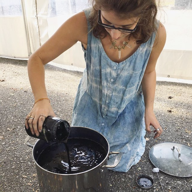 Indigo in action / rejuvenating the vat / #slowfashion #ihavethisthingwithtextiles #fiberhousecollective  #farmtofabric #fashionrevolution #naturaldye #naturalindigo #naturallydyed #indigodye #indigochild #bluegold #textilelove #craftivism #makermonday