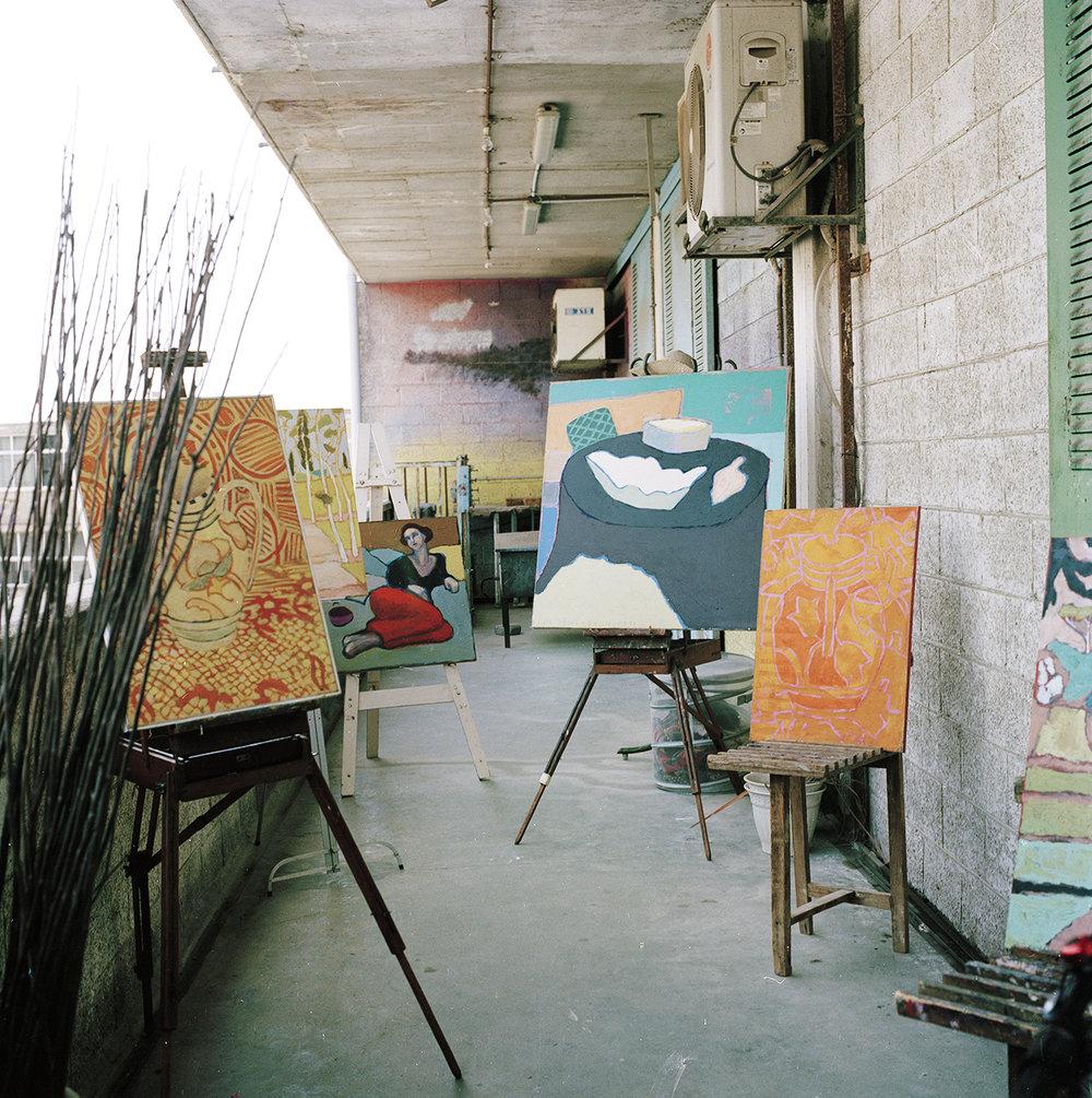 "An ""open studio"" event at dad's studio"