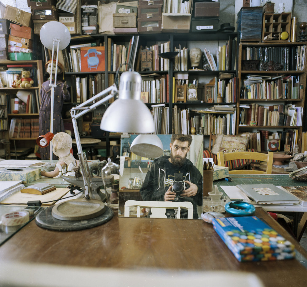 Self portrait at dad's studio