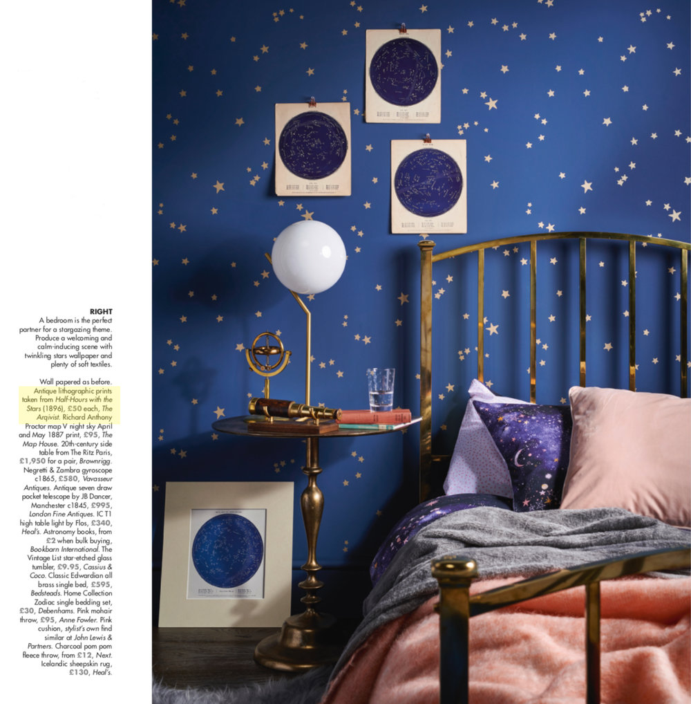 Our Half-Hours with the Stars Prints (1887) featured in Homes and Antiques Magazine cover feature, February 2019  Shoot styling by Jaine Bevan, photographs by Philip Sowels.