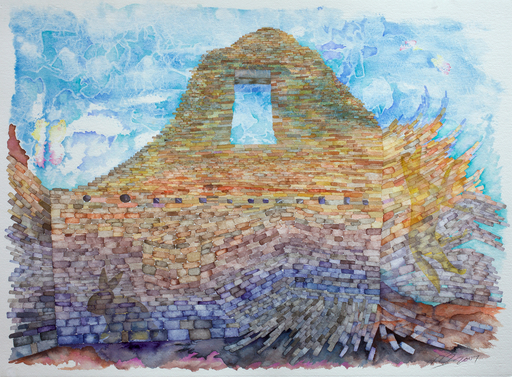 "Ancestor Place, Watercolor on Arches watercolor paper, 22""x30"" 2007"