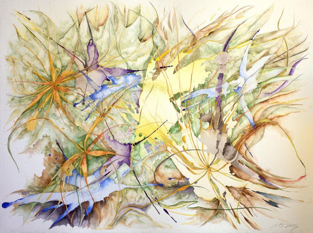 "Dead Grasses, 2016, Watercolor on Arches watercolor paper, 22"" x 30"""
