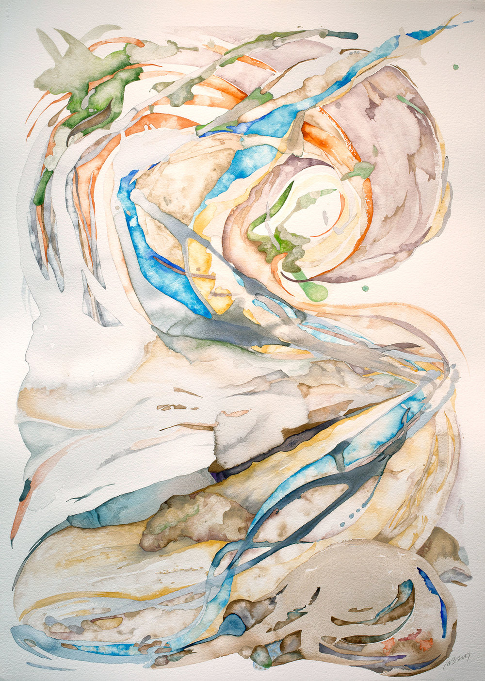 Braided Bed , 2017, watercolor on watercolor paper, 41 x 29.5 in.