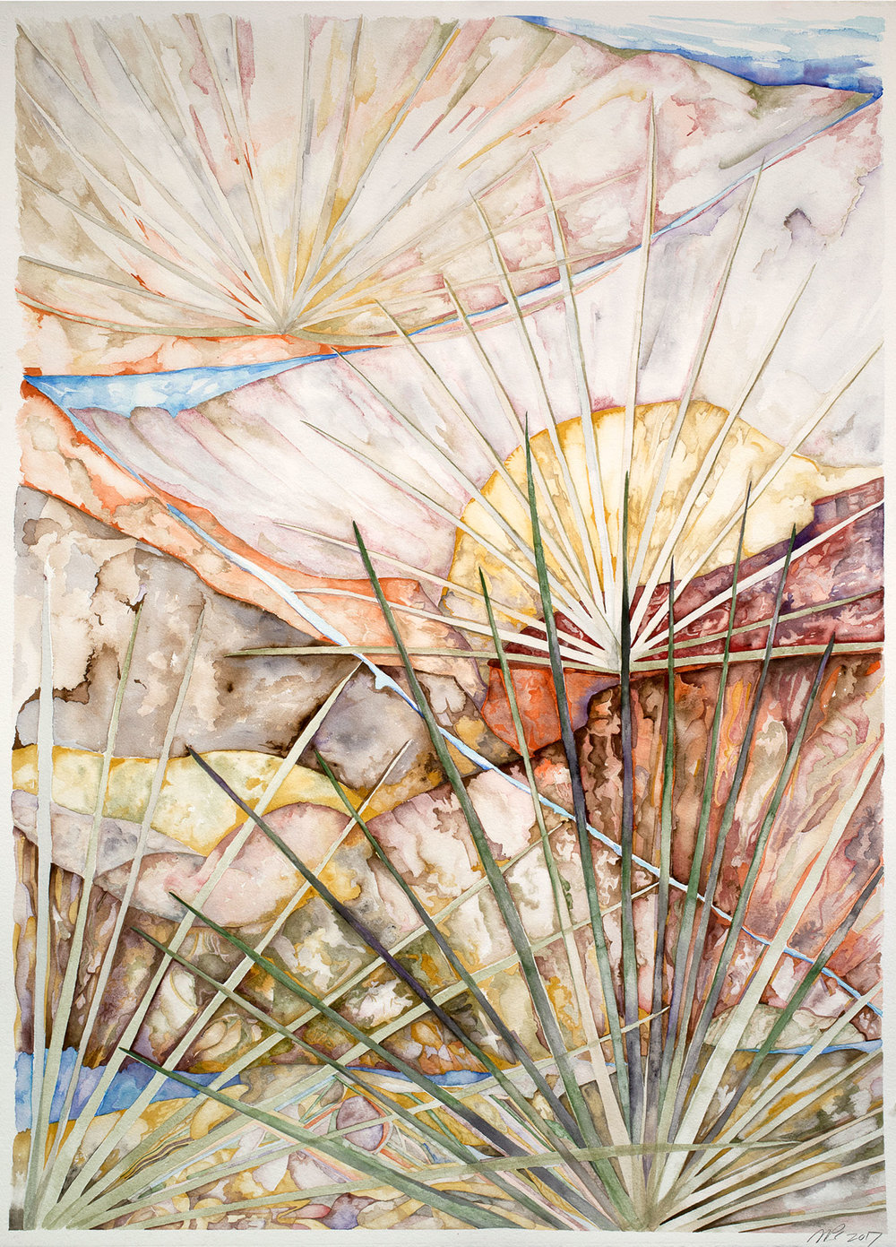 Sky Trail, 2017, watercolor on Arches watercolor paper, 41 x 29 in.