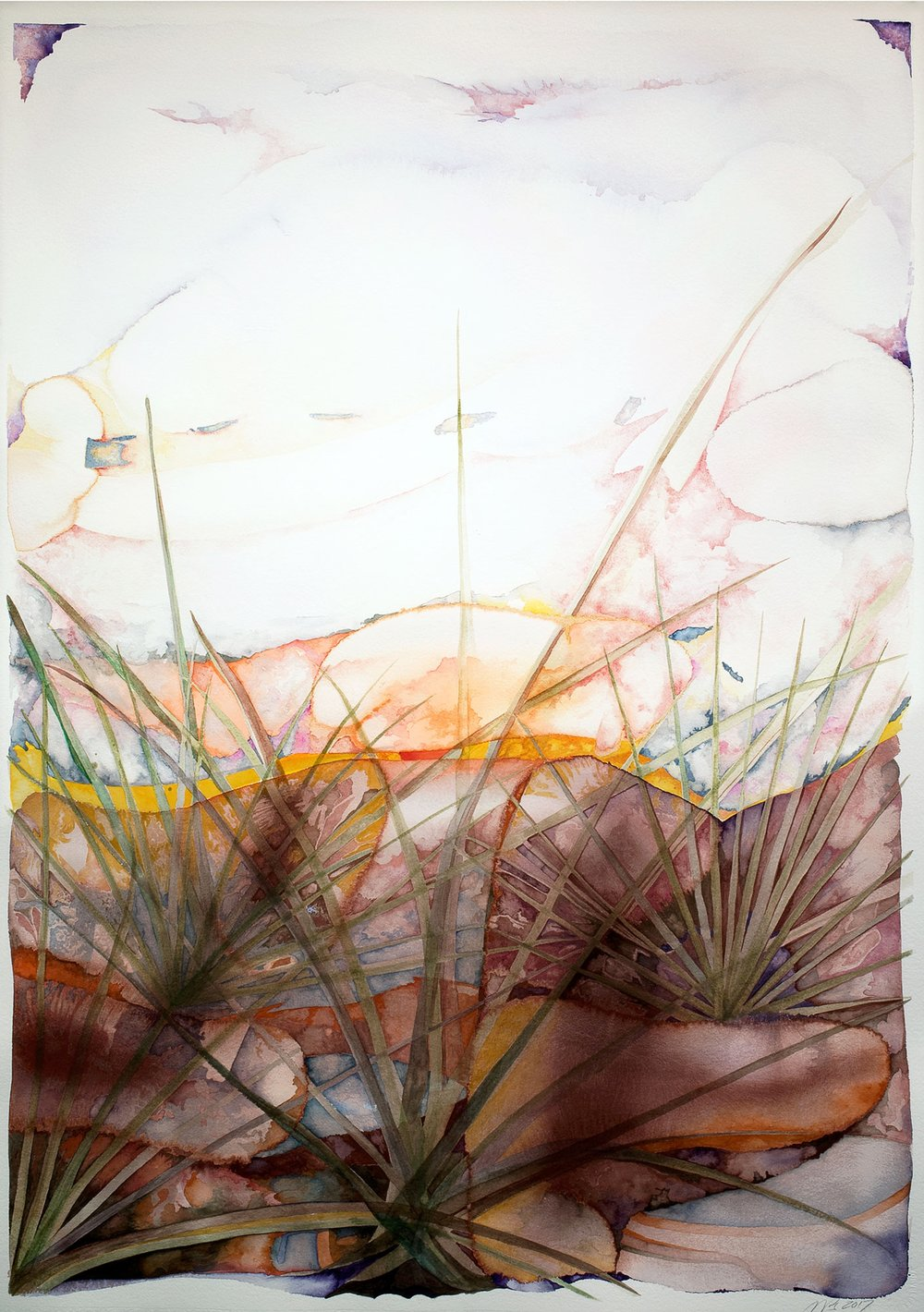 Emerging Sunset, 2017, watercolor on Arches watercolor paper, 41 x 29 in.