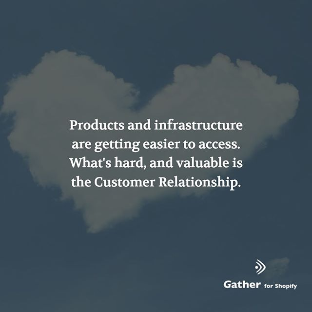 Products and infrastructure are getting easier to access. What's hard, and valuable is the Customer Relationship.  The nice thing about achieveing a great customer relationship is that it's not easy to replicate. You don't need patents to protects it.  #shopify #ecommerce #shopifyseller #shopifystore #shopifyplus #shopifypartner #shopifyexpert #ecommercestore
