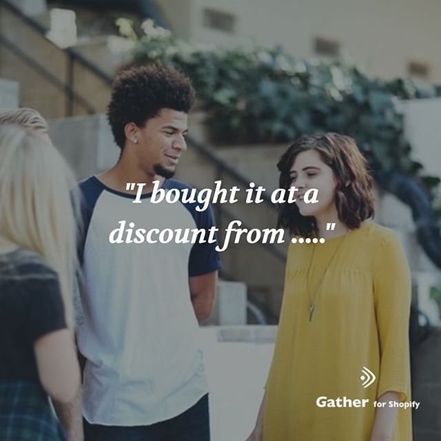 """I bought it at a discount from ....."" Your customer can feel a sense of accomplishment when they get a product at a discount. Yes it comes at a cost; and it is usually the thing that gets you a customer now, and possibly for many more repeat purchases to come. #shopify #ecommerce #shopifyseller #shopifystore #shopifyplus #shopifypartner #shopifyexpert #ecommercestore"