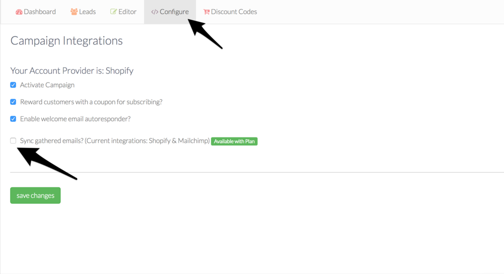 sync gather emails to shopify before syncing to robly