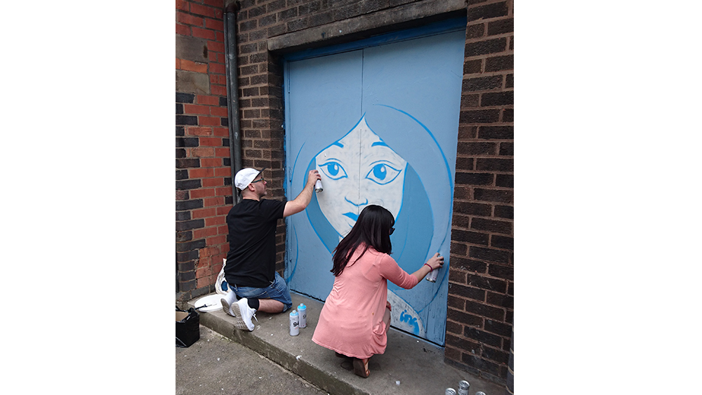 Painting on St James Street, Leicester