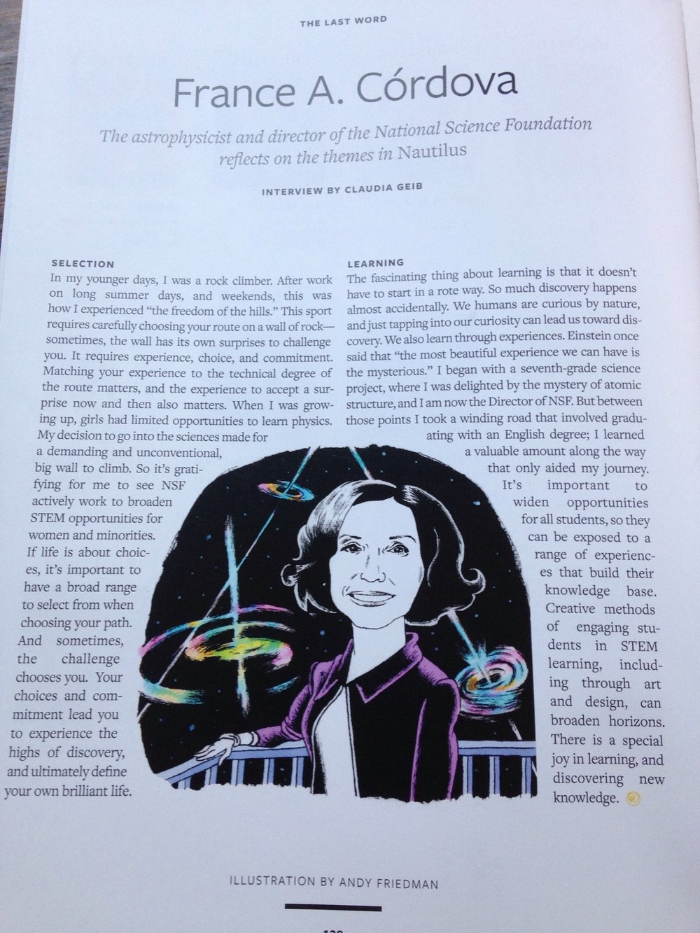 "An interview with NSF director France A. Cordova for Nautilus print issue 16, ""Learning/Selection."""