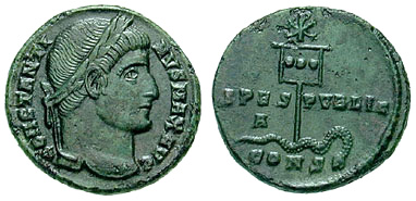 A coin of Constantine (c. AD 337) showing a depiction of his labarum spearing a serpent with the Chi-Rho symbol, via Wikipedia.