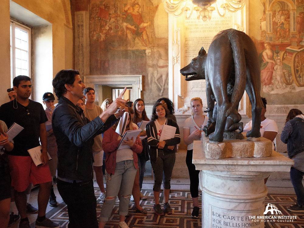 AIRC Director Darius Arya lecturing onsite at the Capitoline Museum during 2018s  Rome, City & History  course.