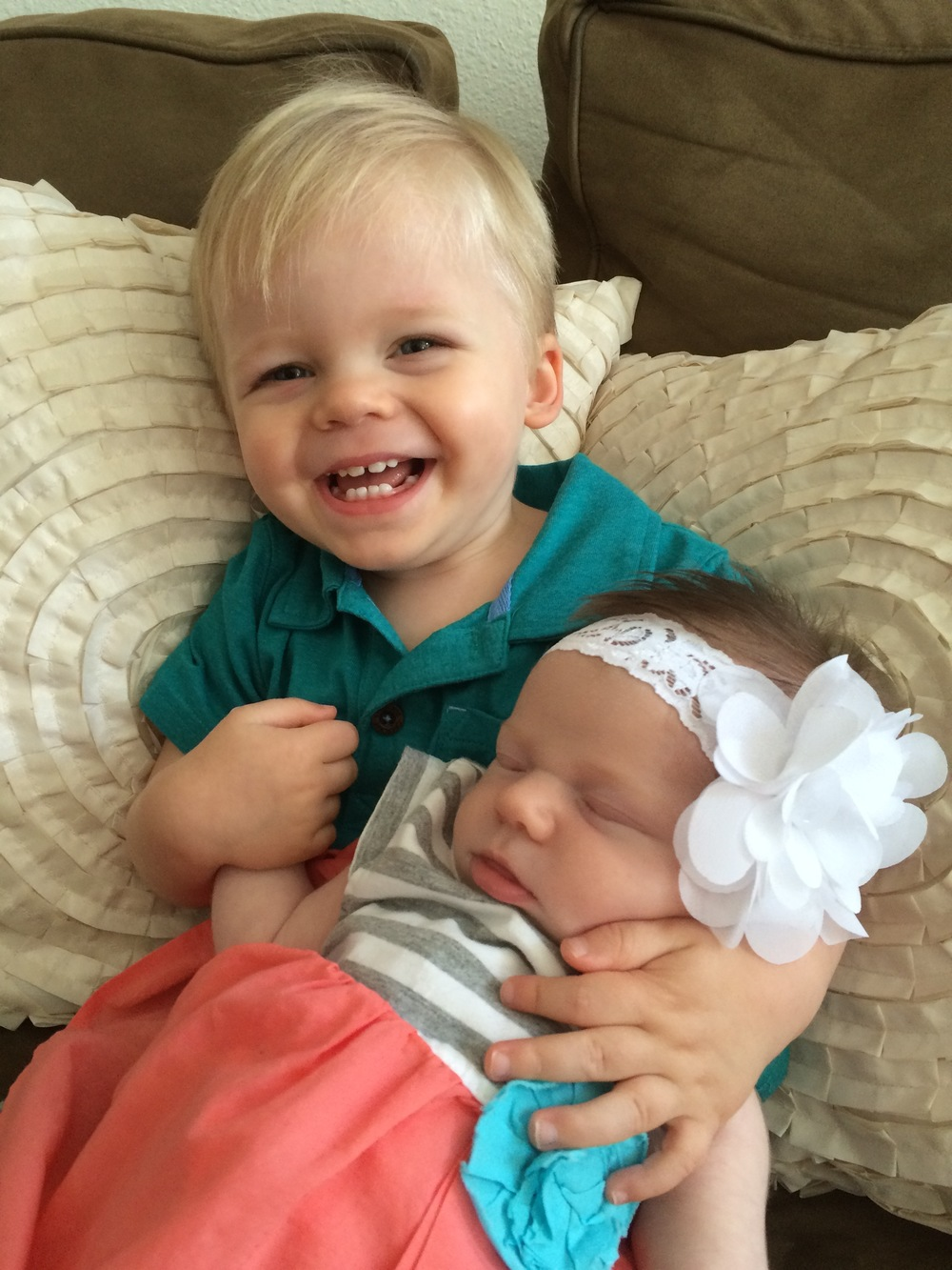 Carter enjoys his little sister, Briella!