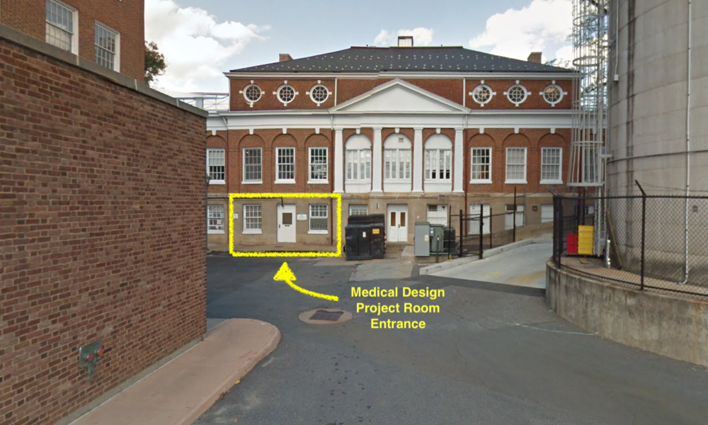 Medical Design Program space is second door from the left when facing the backside of the Corner building.