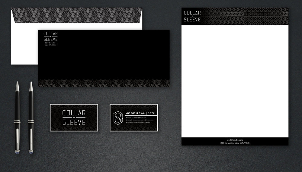 ENVELOPE, BUSINESS CARDS, AND A LETTERHEAD