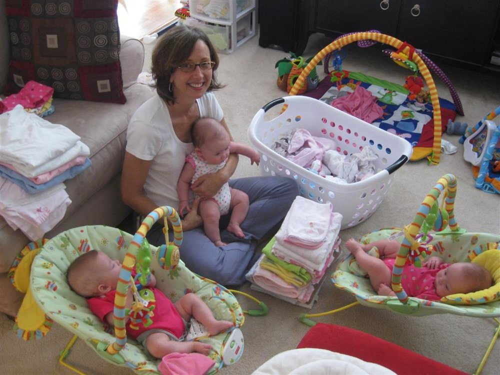 Doula with triplet babies