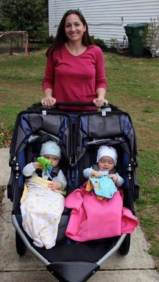 Mom exercising with twin babies