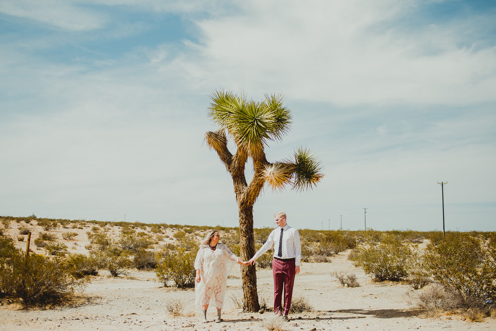 Taryn and Adam met me in Joshua Tree for their elopement. I drove from LA. They flew in from Canada. I think we traveled the same amount of hours.