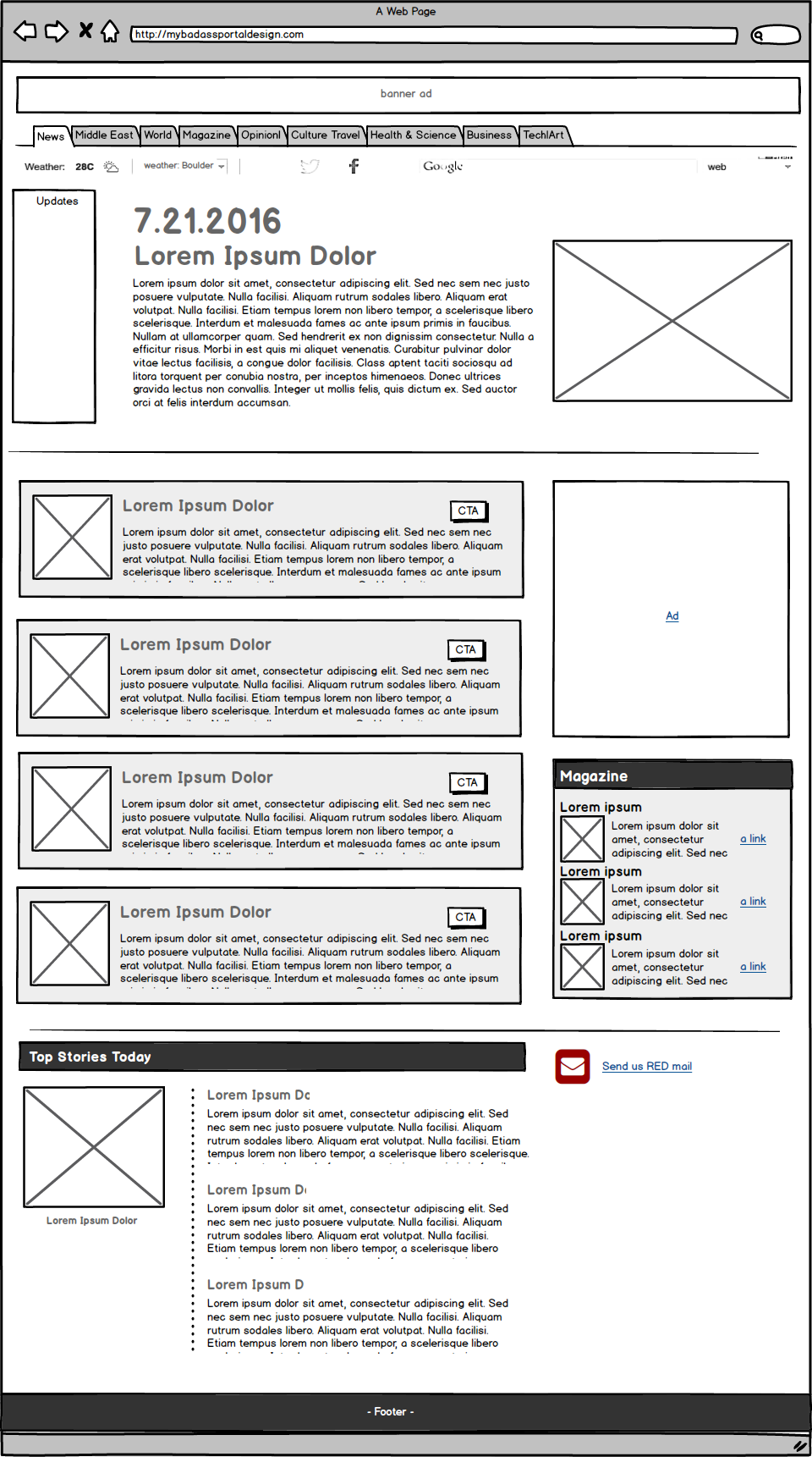 Annotated wireframes help team members understand what I think should happen on this page.