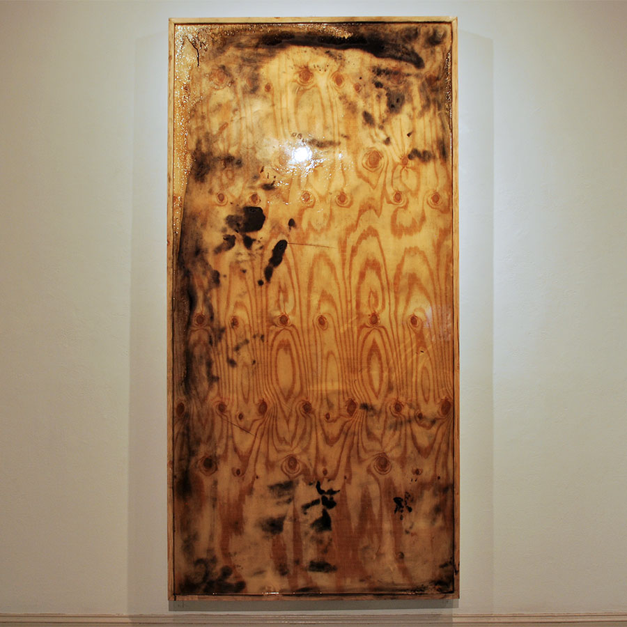 "Íchnos   2015  volcanic ash and super glaze on plywood  96"" X 48"""