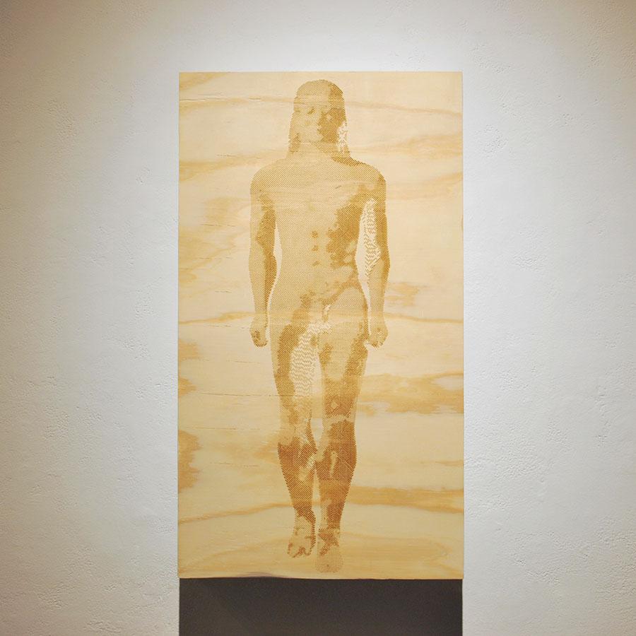 "Kouros   2015  laser engraving on plywood  35"" 1/2"" X 17 1/2"""