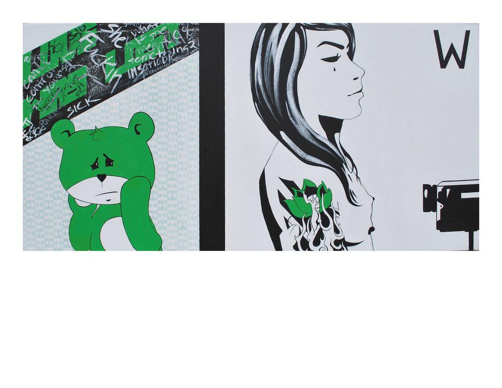 "Anguish   2010  acrylic on canvas  24"" X 48"""