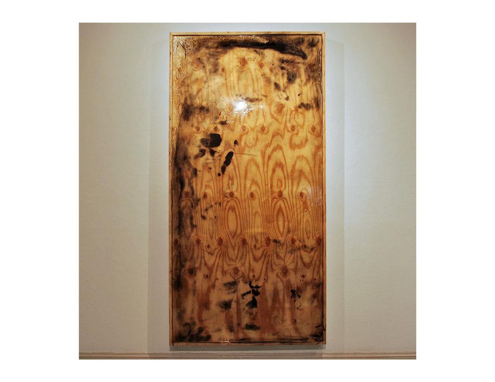 Íchnos   2015  volcanic ash and super glaze on plywood  8' x 4'
