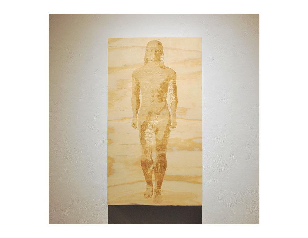 "Kouros   2015  laser engraving on plywood  35"" 1/2"" X 17"" 1/2"""