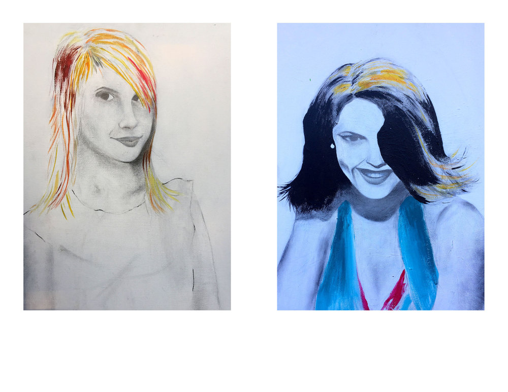 """Hayley Study (left) Lana Study (right)   2008  graphite and acrylic on canvas  24"""" X 16"""" (each)"""