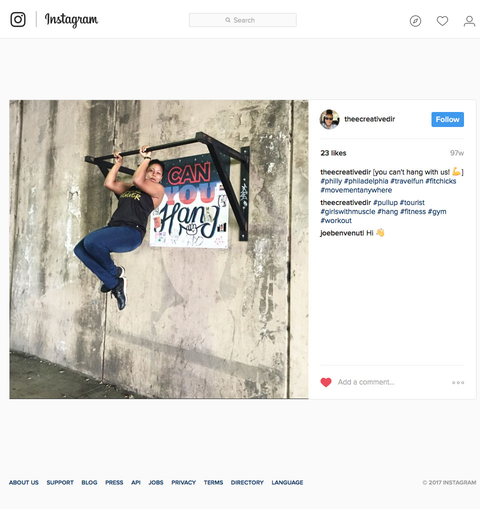 Passerby Instagram posting of  Can You Hang