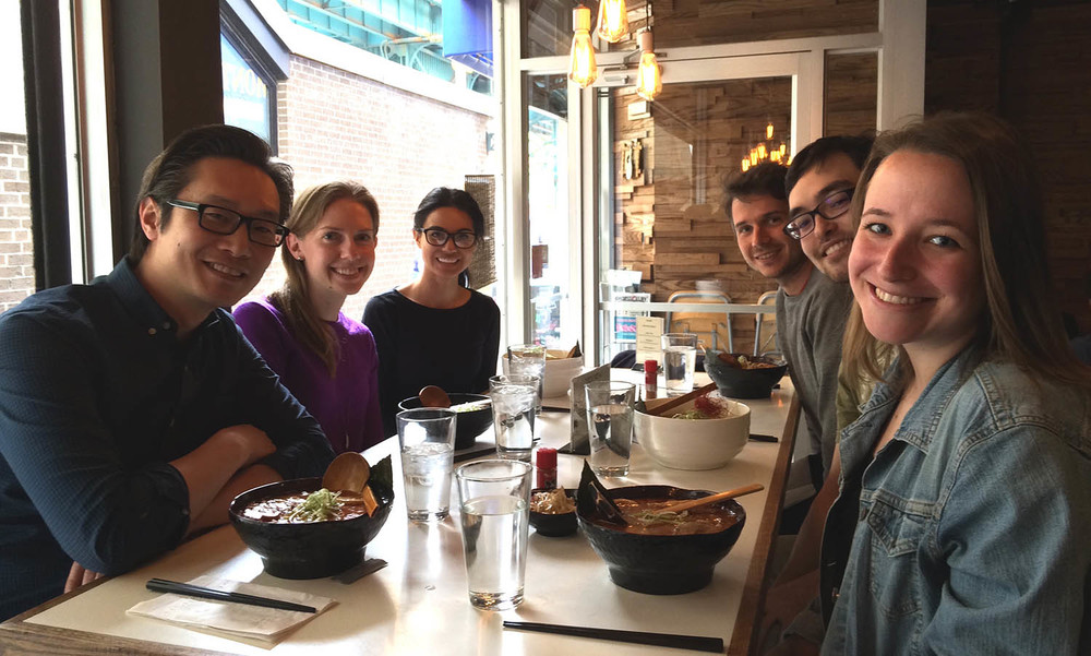 Inaugural lab lunch at   Jin Ramen  . Left to right: Ed Au, Melissa McKenzie, Daisy Ambriz, Matth Genestine, Nick Gallerani, Veronica Birdsall (rotation student).