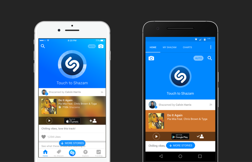 These screens were the 50/50 split with the main Shazam button and the newsfeed.
