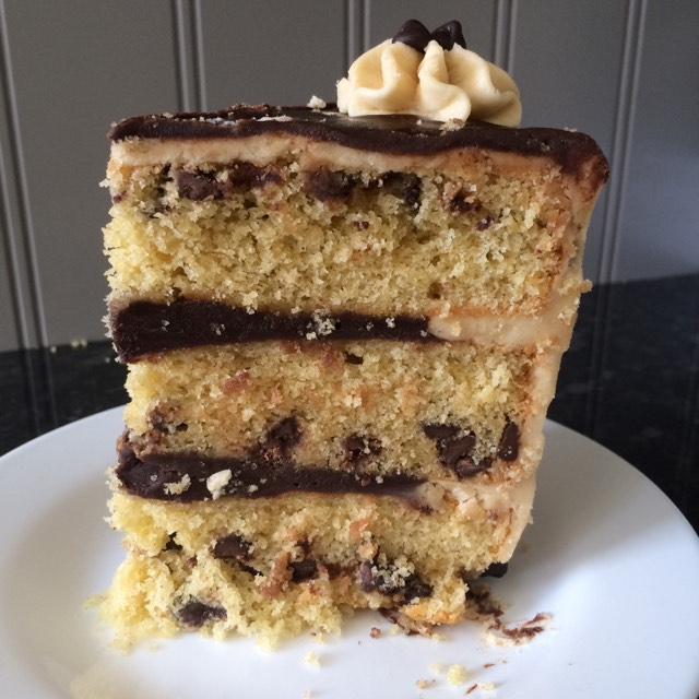 Chocolate Chip Cookie Dough Drip Cake