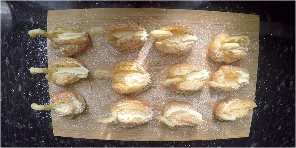Choux Pastry Swans filled with Salted Carmel and Whipped Cream