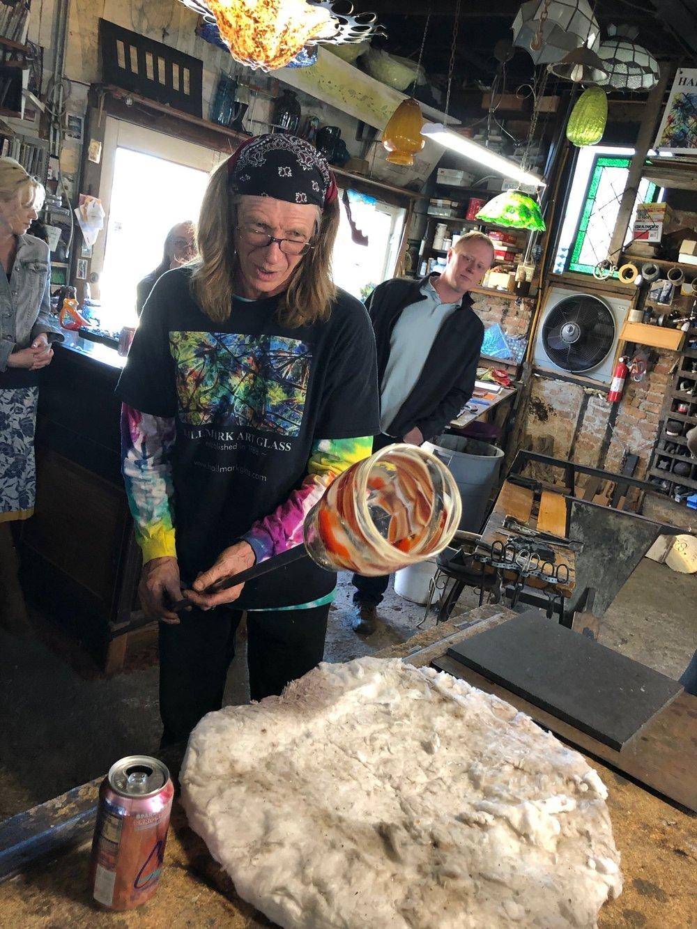 Mark Hall glassblowing a vase