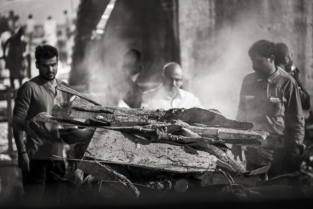 Preparing the Body for Cremation, Varanasi, India