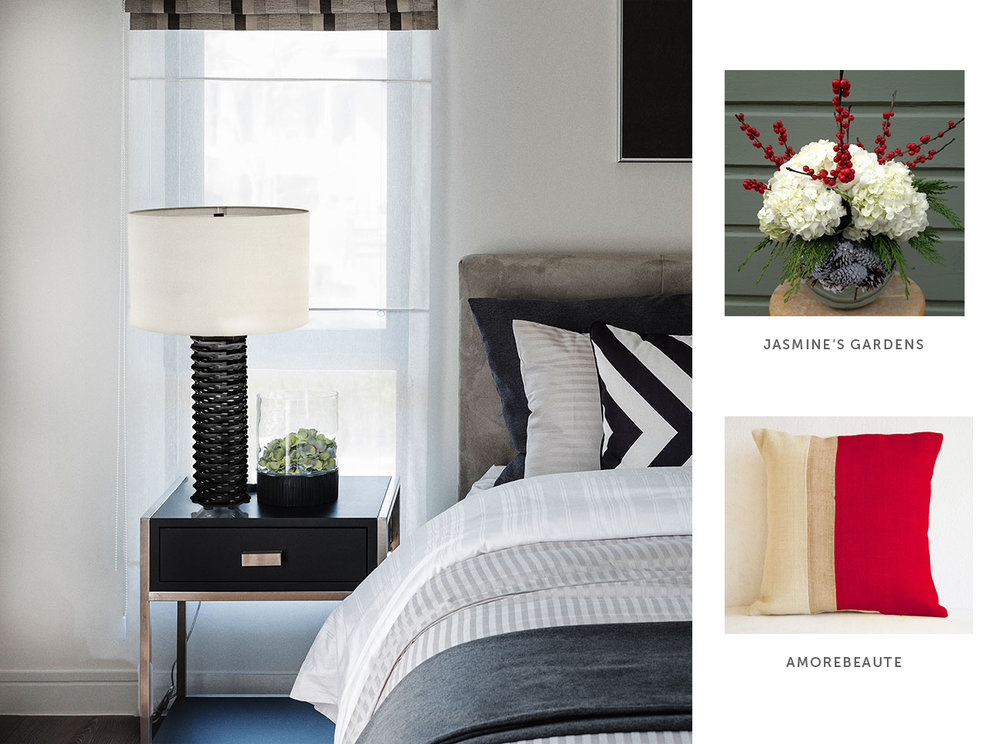 By replacing the black and white pillow for one with a pop of red, and replacing the green hydrangea with a holiday bouquet, this guest bedroom featuring the Solas Table Lamp is ready for the holidays.