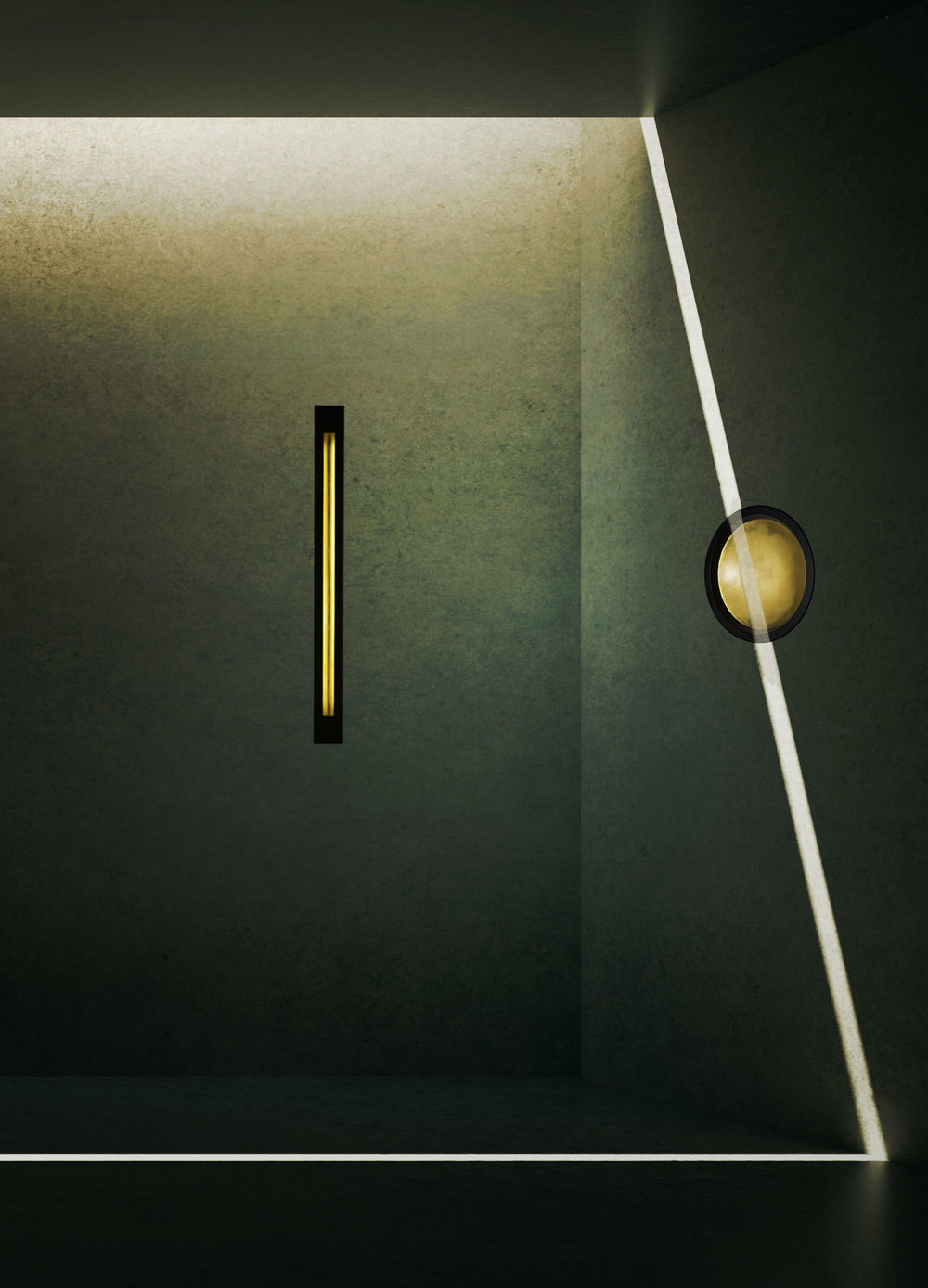 The LED  Sunbeam Sconce  and  Portal Sconce  are lit from within.