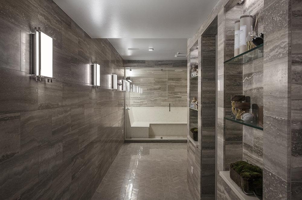Cadence I LED Sconce . Bathroom by Ashli Mizell Inc. Photo by Jason Varney.